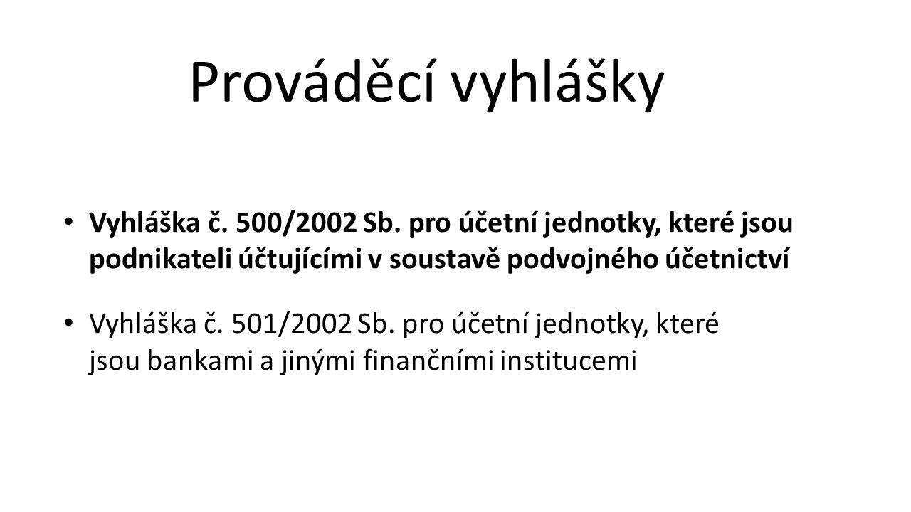 Prováděcí vyhlášky Vyhláška č. 500/2002 Sb. pro účetní jednotky, které jsou podnikateli účtujícími v soustavě podvojného účetnictví.