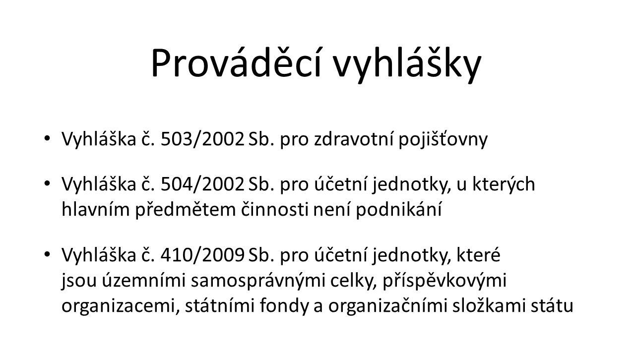 Prováděcí vyhlášky Vyhláška č. 503/2002 Sb. pro zdravotní pojišťovny