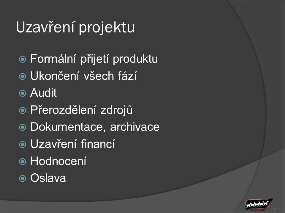 Uzavření projektu Formální přijetí produktu Ukončení všech fází Audit