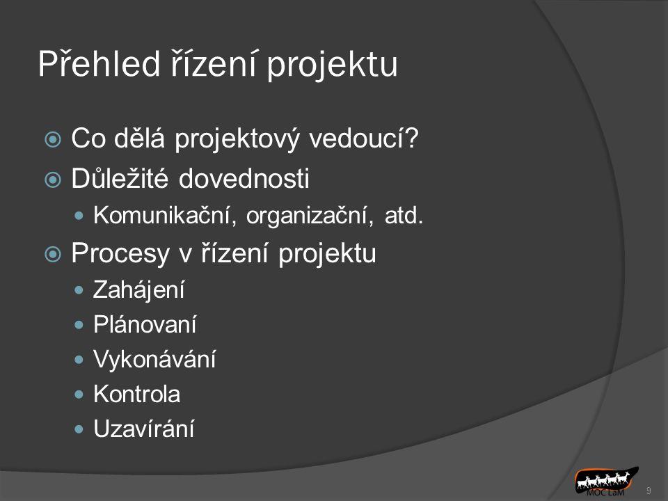 Přehled řízení projektu