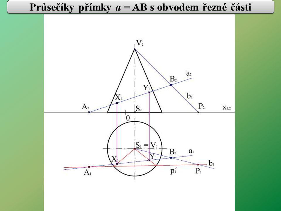 Průsečíky přímky a = AB s obvodem řezné části