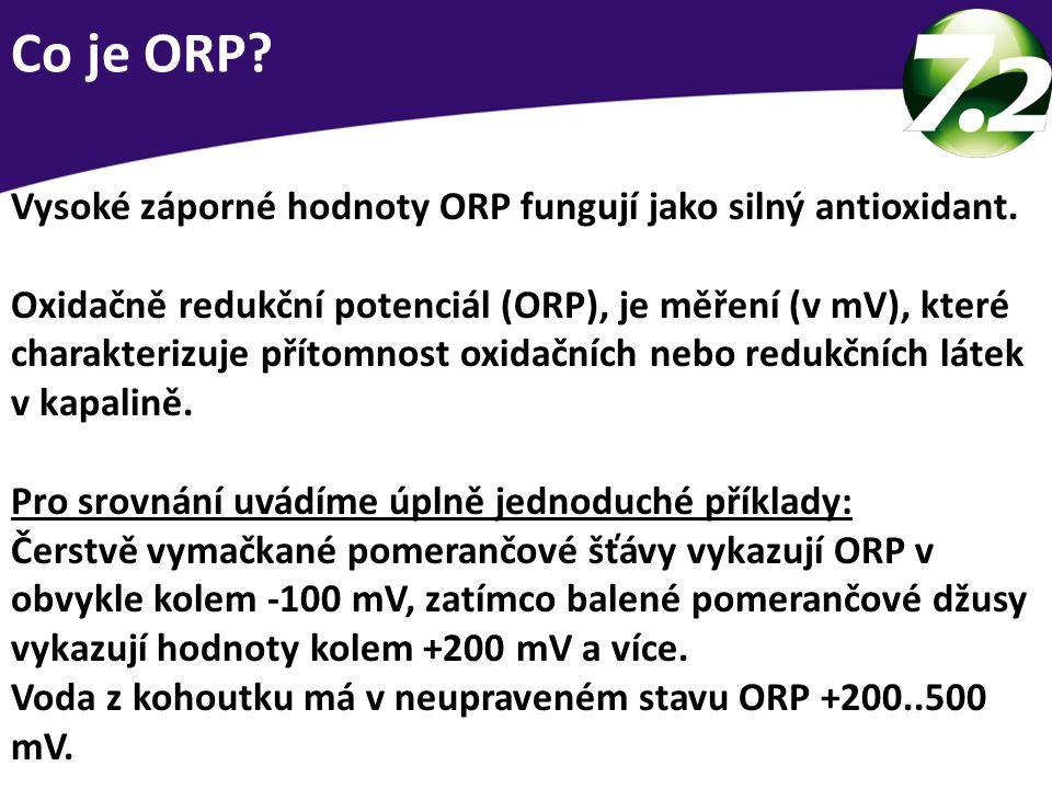 Co je ORP Vysoké záporné hodnoty ORP fungují jako silný antioxidant.