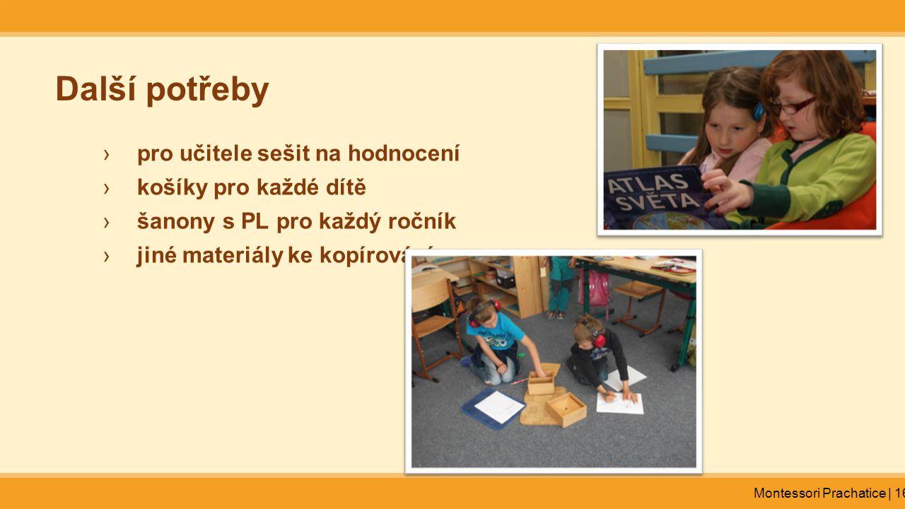 Další potřeby pro učitele sešit na hodnocení košíky pro každé dítě