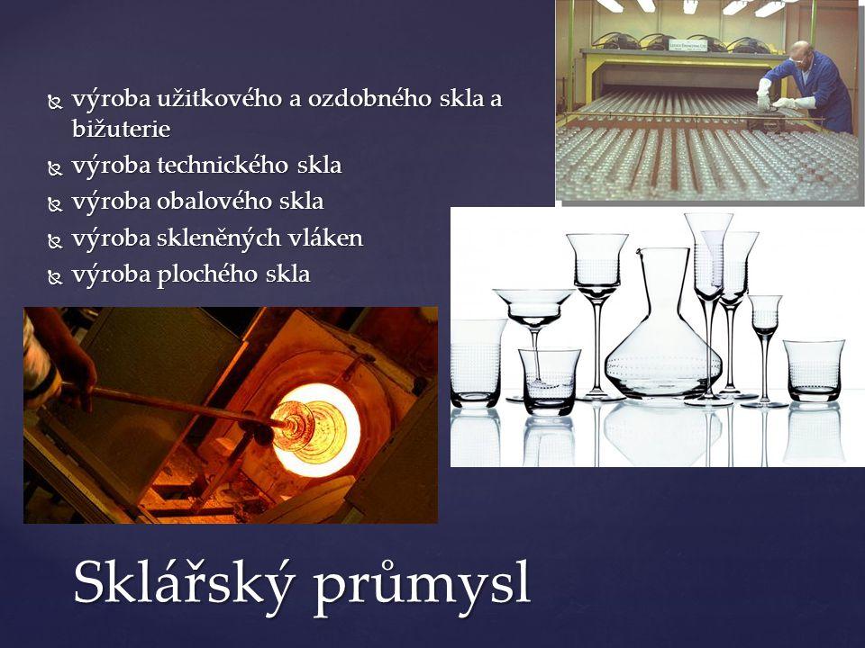 Sklářský průmysl výroba užitkového a ozdobného skla a bižuterie