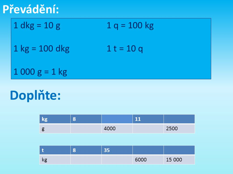 Doplňte: Převádění: 1 dkg = 10 g 1 q = 100 kg