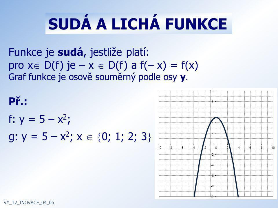 SUDÁ A LICHÁ FUNKCE Funkce je sudá, jestliže platí: