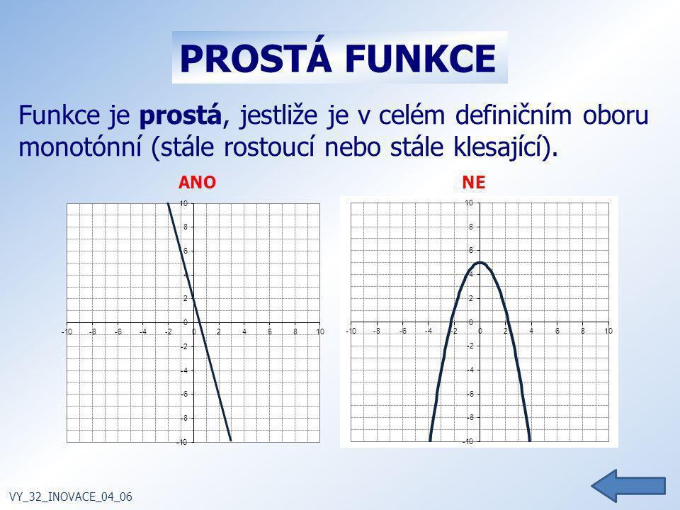 PROSTÁ FUNKCE Funkce je prostá, jestliže je v celém definičním oboru monotónní (stále rostoucí nebo stále klesající).