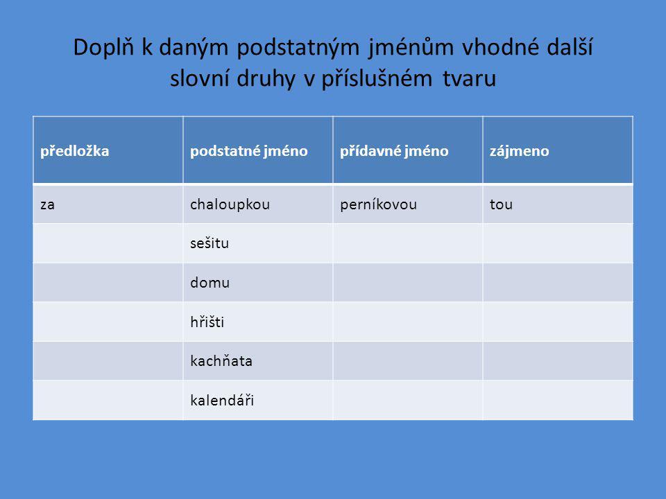 Doplň k daným podstatným jménům vhodné další slovní druhy v příslušném tvaru