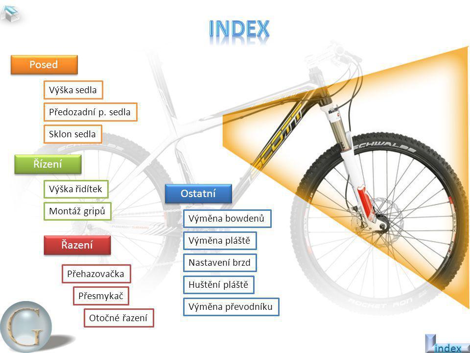 index Posed Řízení Ostatní Řazení index Výška sedla