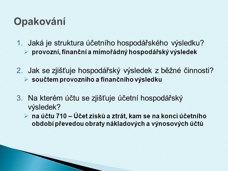 Opakování Jaká je struktura účetního hospodářského výsledku