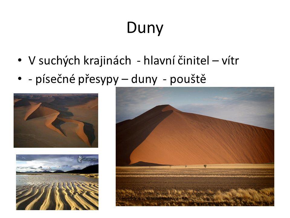 Duny V suchých krajinách - hlavní činitel – vítr