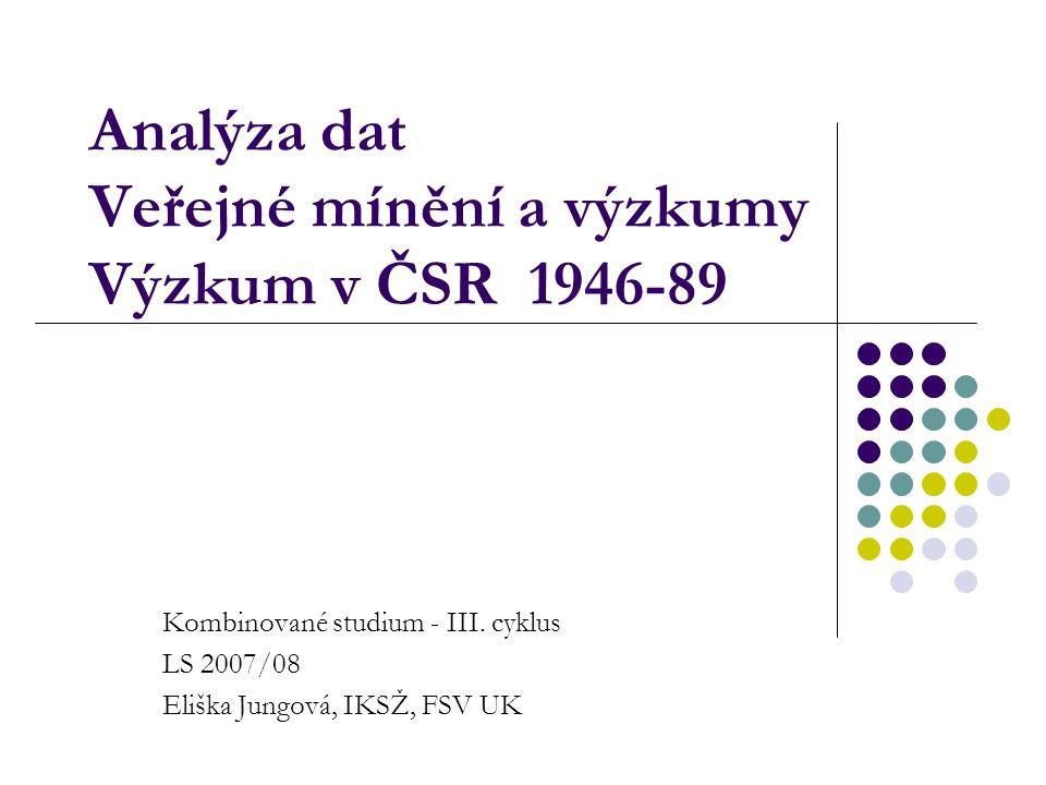 Analýza dat Veřejné mínění a výzkumy Výzkum v ČSR 1946-89