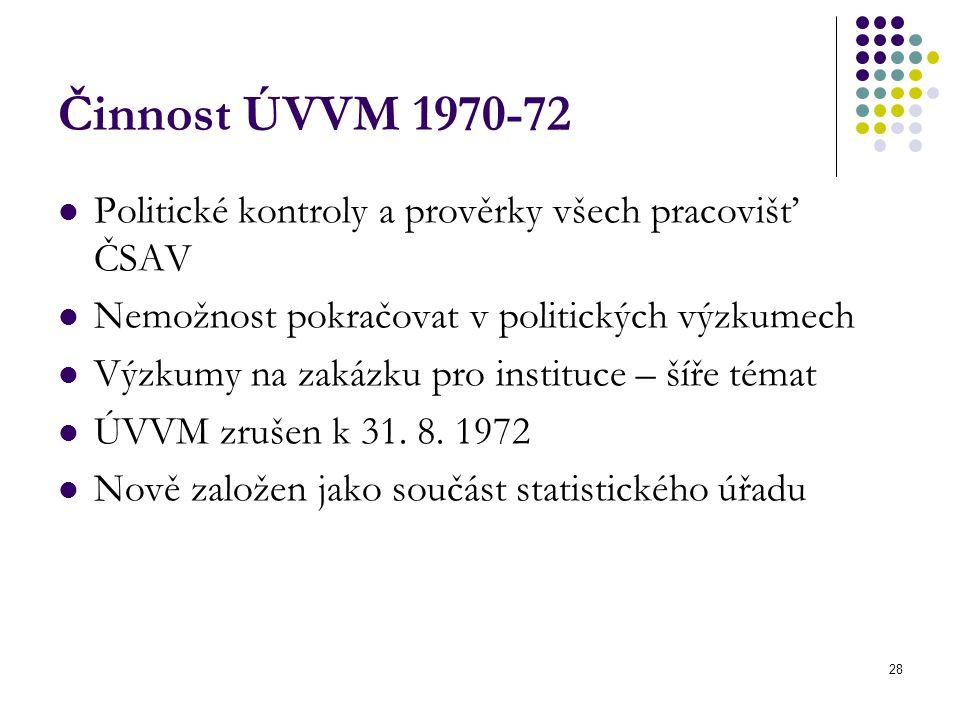Činnost ÚVVM 1970-72 Politické kontroly a prověrky všech pracovišť ČSAV. Nemožnost pokračovat v politických výzkumech.