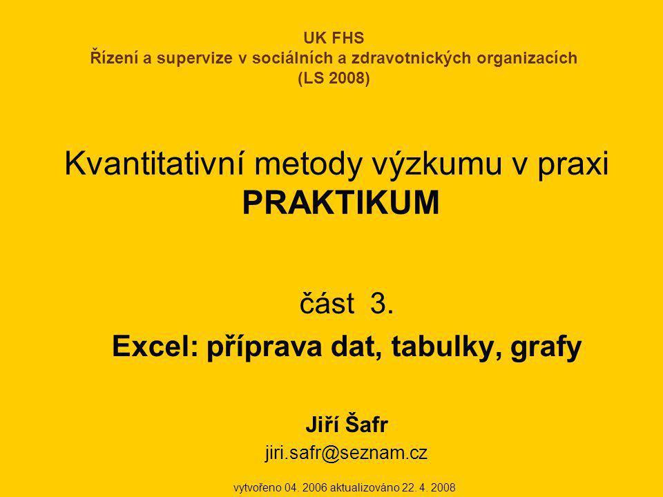 Kvantitativní metody výzkumu v praxi PRAKTIKUM