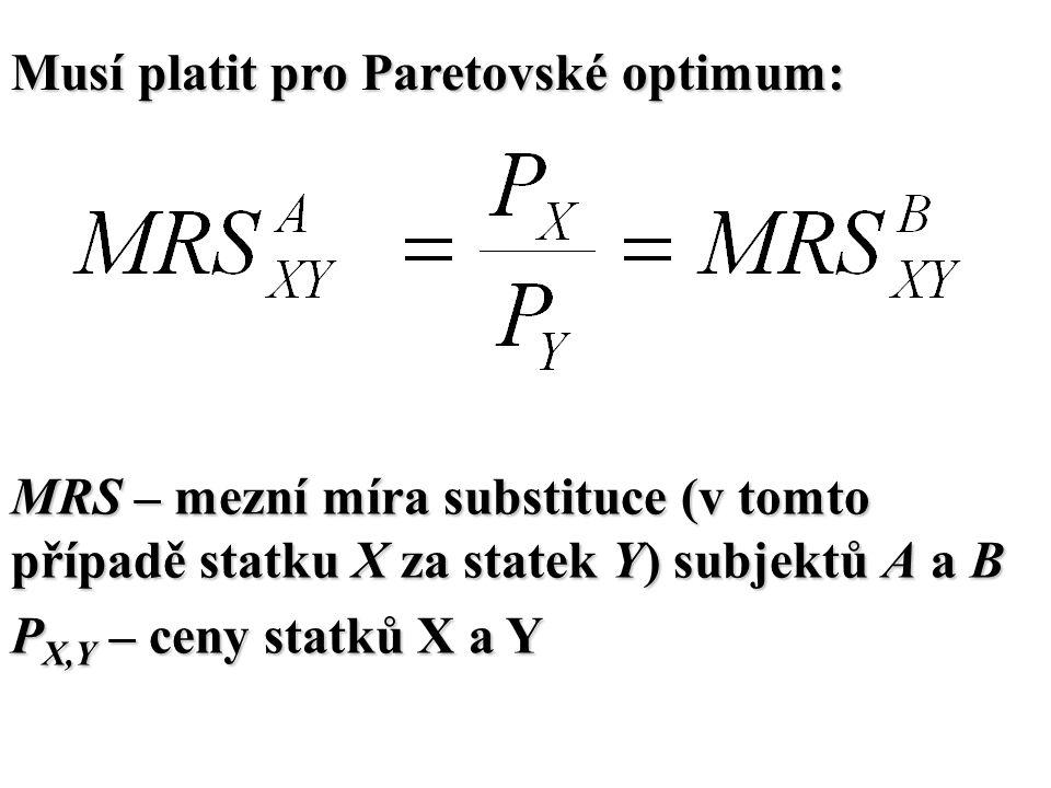 Musí platit pro Paretovské optimum: