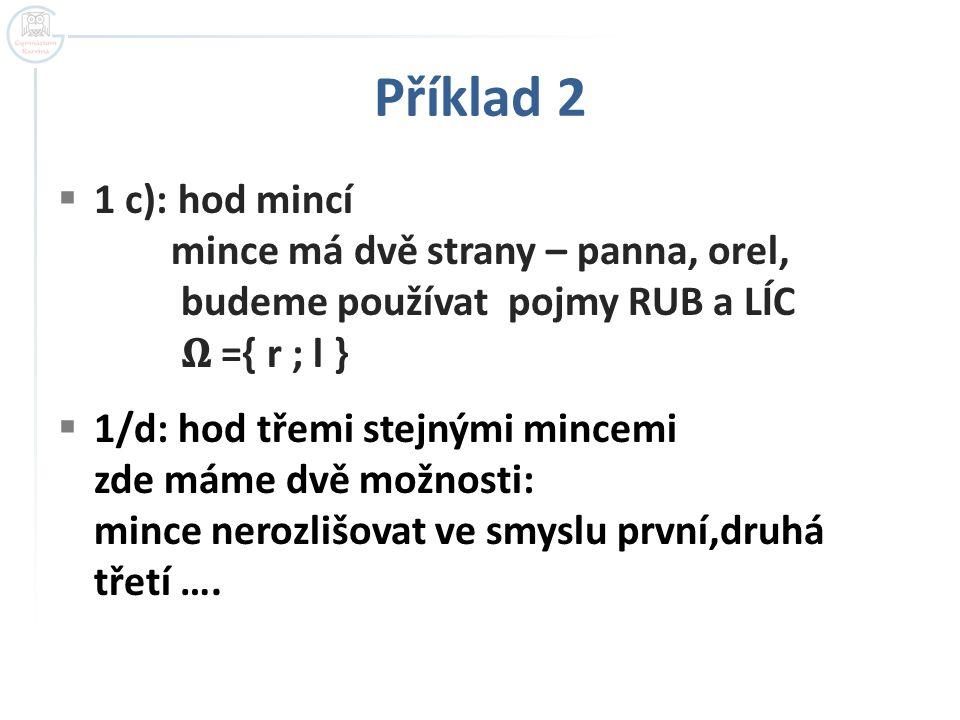 Příklad 2 1 c): hod mincí mince má dvě strany – panna, orel, budeme používat pojmy RUB a LÍC 𝛀 ={ r ; l }