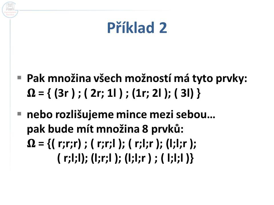 Příklad 2 Pak množina všech možností má tyto prvky: 𝛀 = { (3r ) ; ( 2r; 1l ) ; (1r; 2l ); ( 3l) }