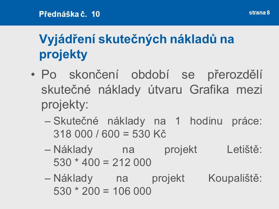 Vyjádření skutečných nákladů na projekty