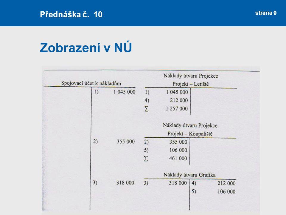 Přednáška č. 10 Zobrazení v NÚ