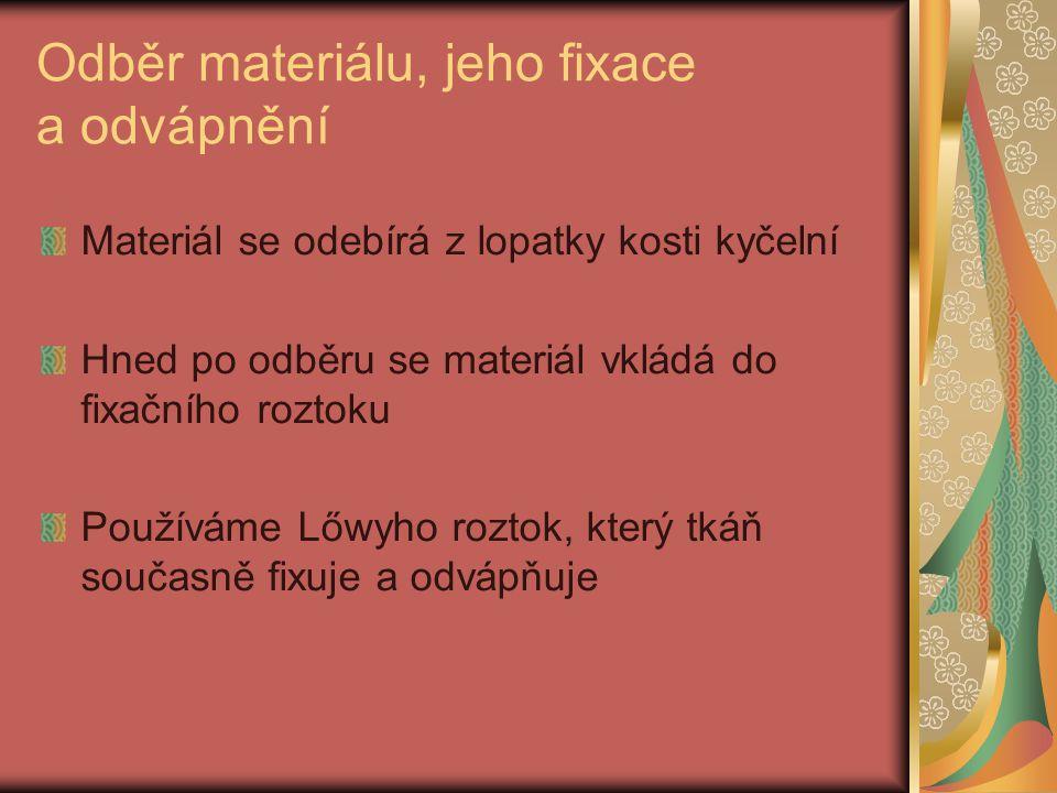 Odběr materiálu, jeho fixace a odvápnění