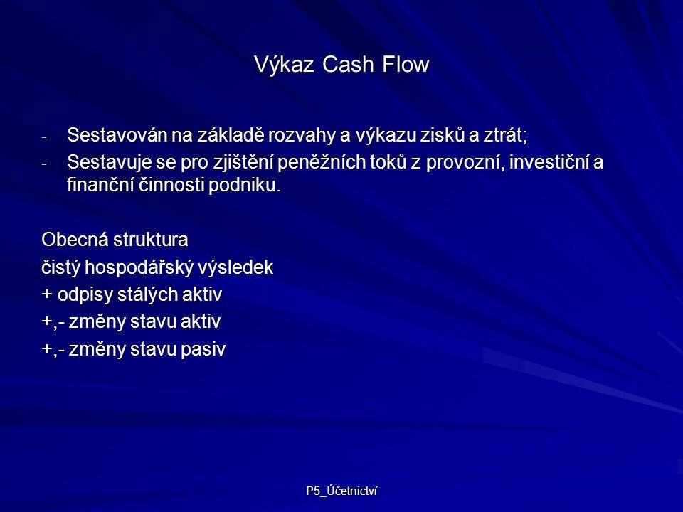 Výkaz Cash Flow Sestavován na základě rozvahy a výkazu zisků a ztrát;