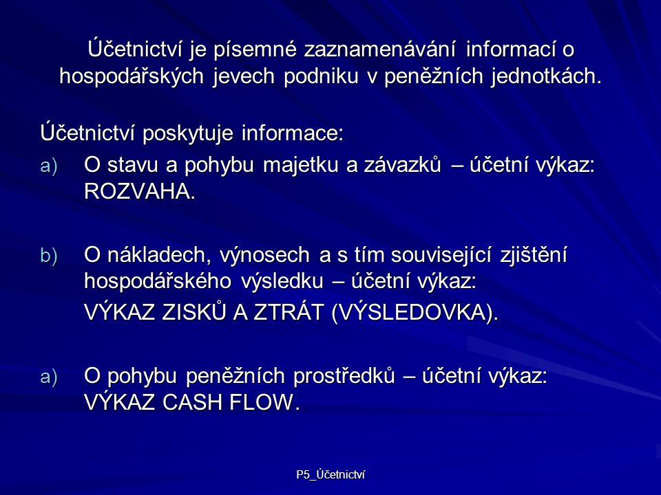 Účetnictví poskytuje informace: