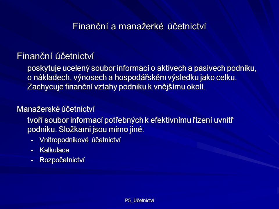 Finanční a manažerké účetnictví