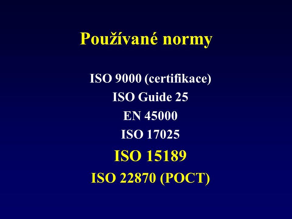 Používané normy ISO 15189 ISO 22870 (POCT) ISO 9000 (certifikace)