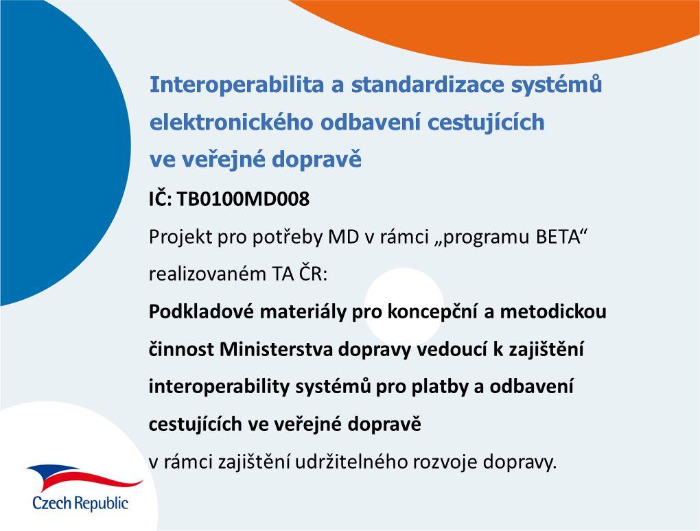 Interoperabilita a standardizace systémů elektronického odbavení cestujících ve veřejné dopravě