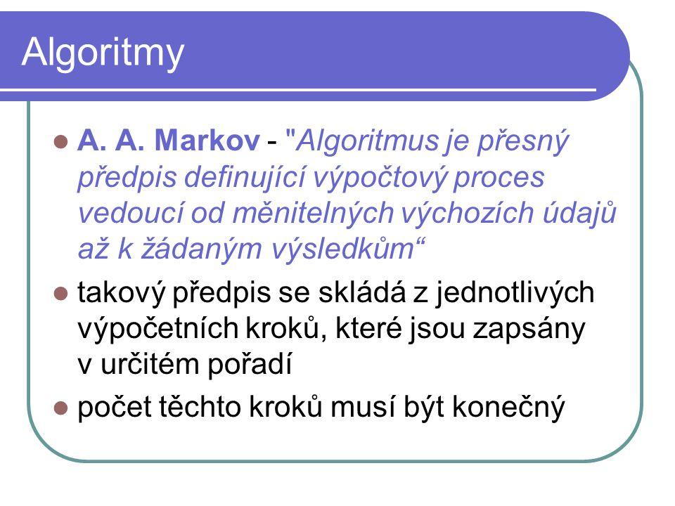 Algoritmy A. A. Markov - Algoritmus je přesný předpis definující výpočtový proces vedoucí od měnitelných výchozích údajů až k žádaným výsledkům