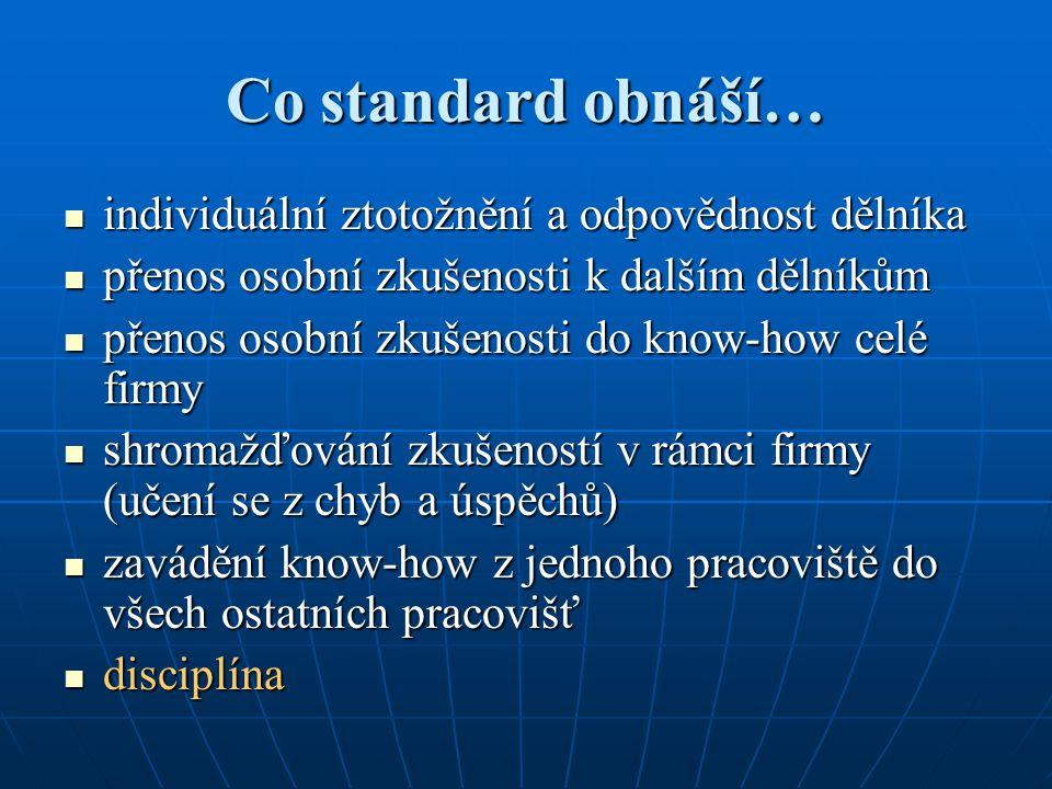 Co standard obnáší… individuální ztotožnění a odpovědnost dělníka