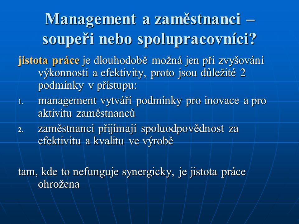 Management a zaměstnanci – soupeři nebo spolupracovníci
