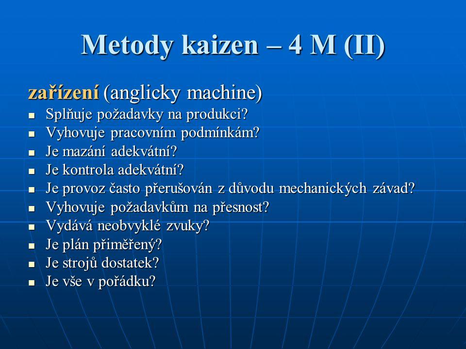 Metody kaizen – 4 M (II) zařízení (anglicky machine)