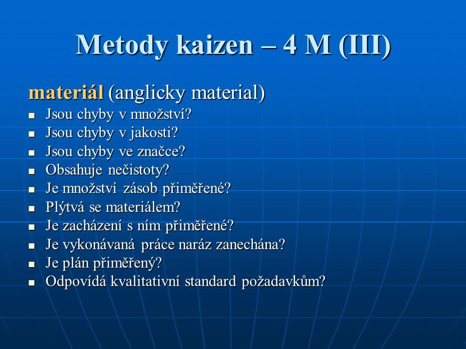 Metody kaizen – 4 M (III) materiál (anglicky material)
