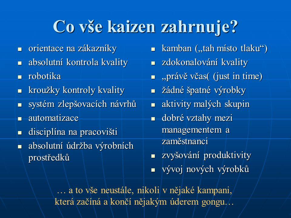 Co vše kaizen zahrnuje orientace na zákazníky