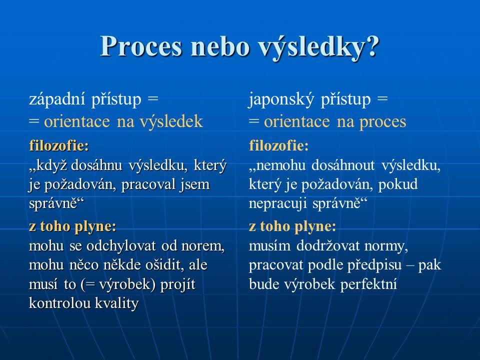 Proces nebo výsledky západní přístup = = orientace na výsledek