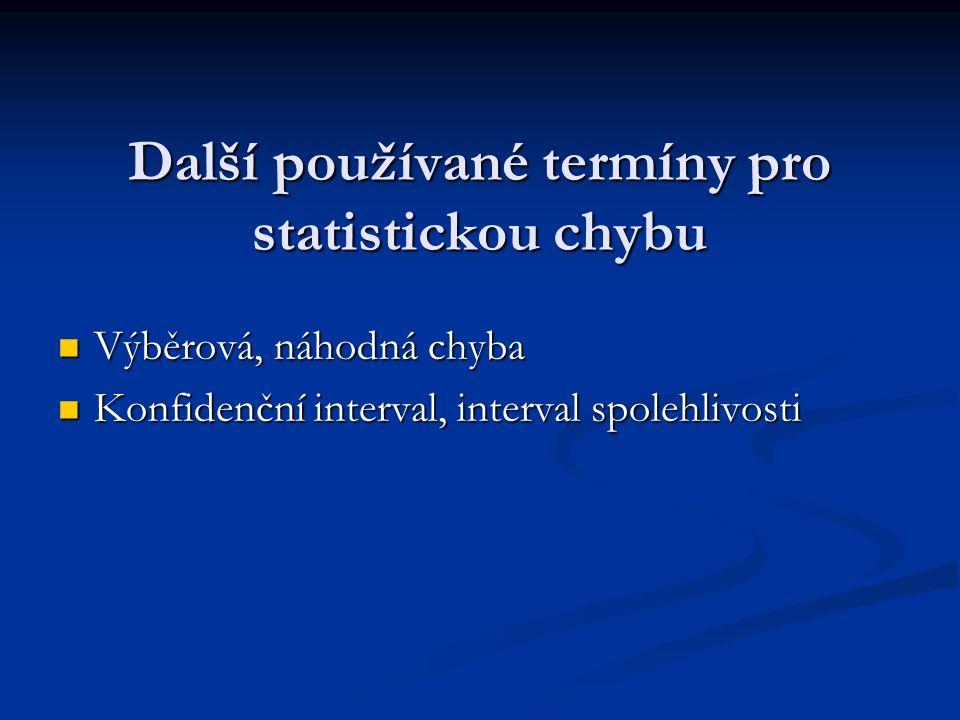 Další používané termíny pro statistickou chybu