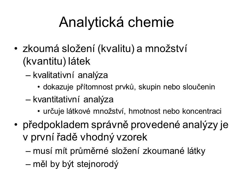 Analytická chemie zkoumá složení (kvalitu) a množství (kvantitu) látek
