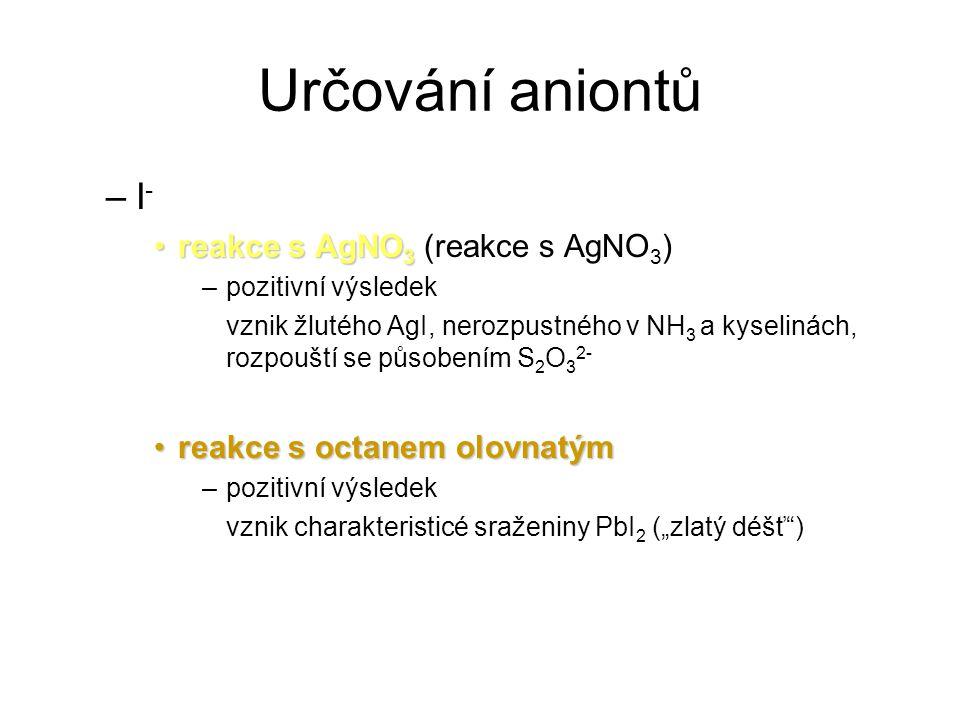 Určování aniontů I- reakce s AgNO3 (reakce s AgNO3)
