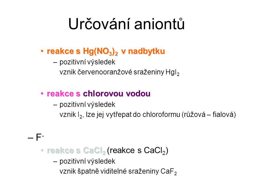 Určování aniontů F- reakce s Hg(NO3)2 v nadbytku