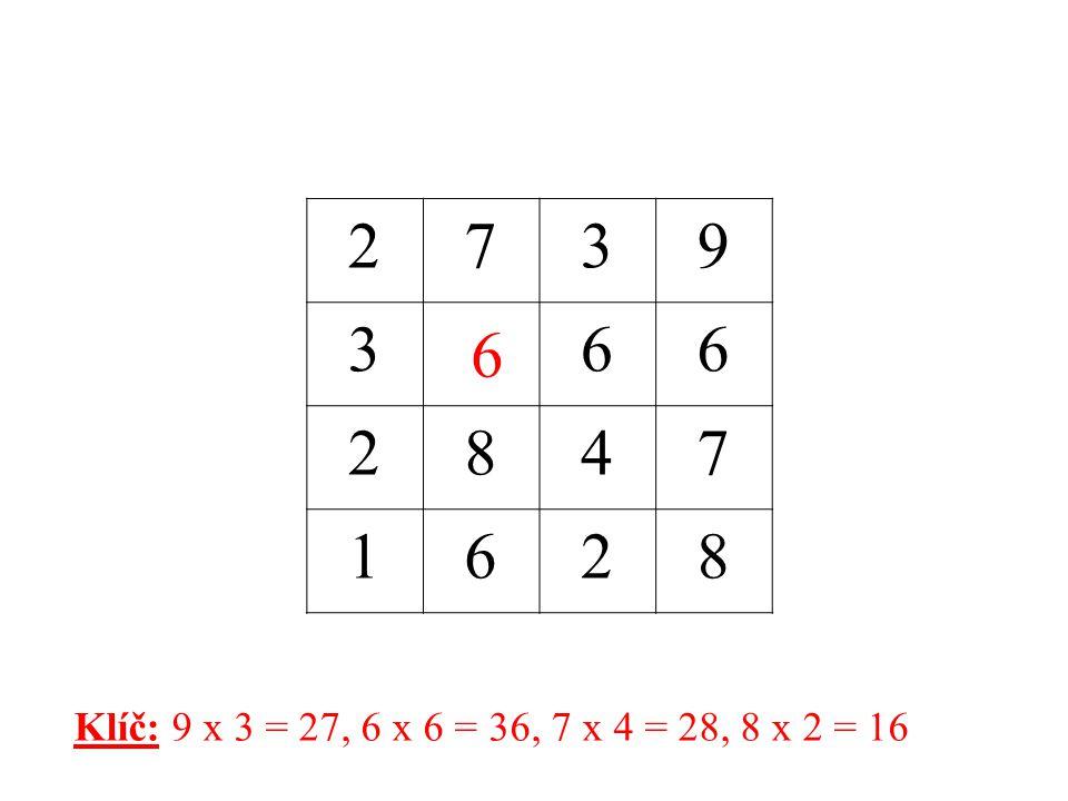 2 7 3 9 6 8 4 1 6 Klíč: 9 x 3 = 27, 6 x 6 = 36, 7 x 4 = 28, 8 x 2 = 16