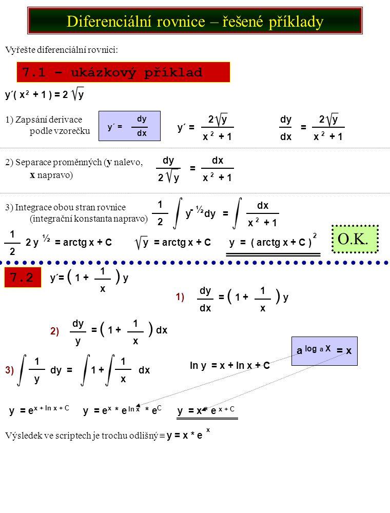 Diferenciální rovnice – řešené příklady