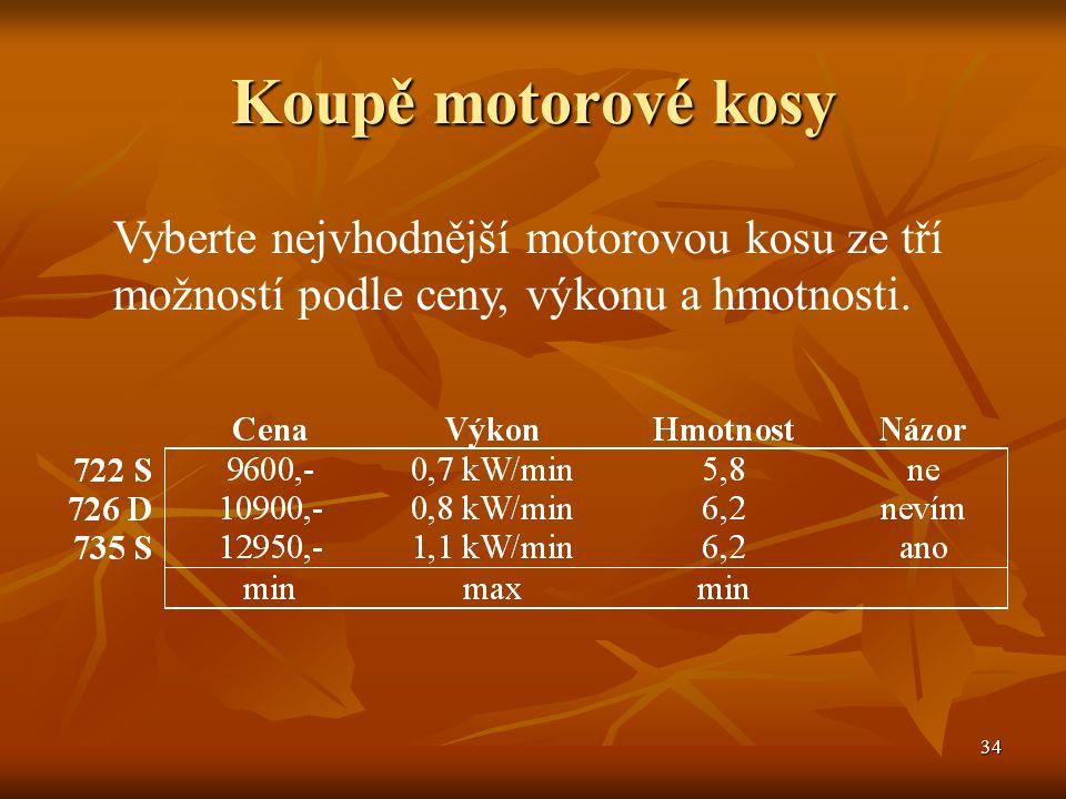 Koupě motorové kosy Vyberte nejvhodnější motorovou kosu ze tří možností podle ceny, výkonu a hmotnosti.