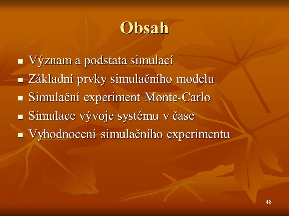 Obsah Význam a podstata simulací Základní prvky simulačního modelu