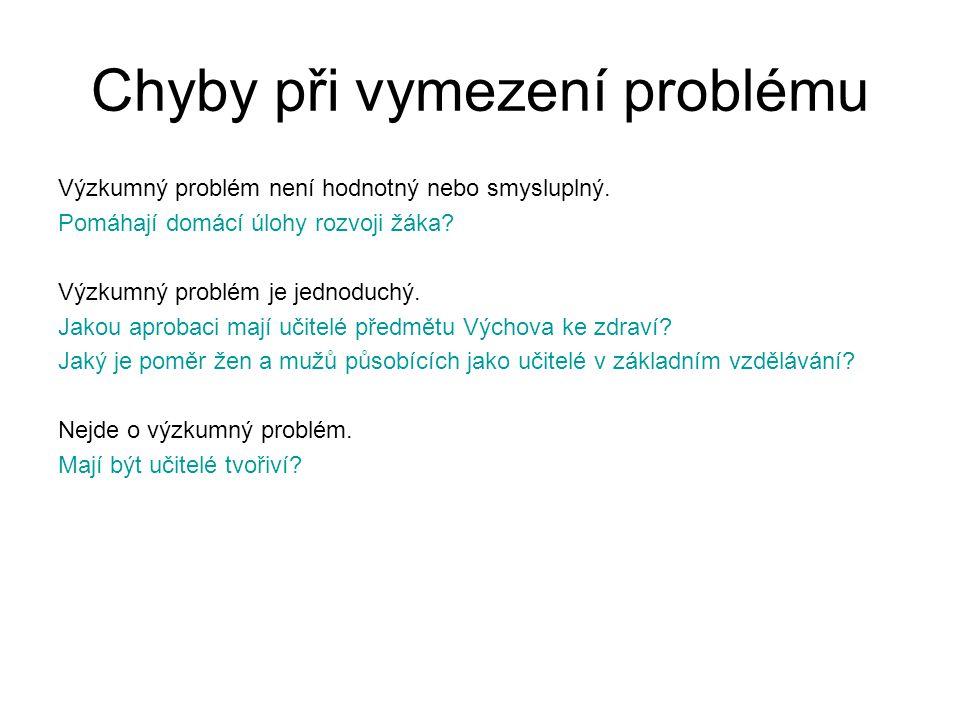 Chyby při vymezení problému