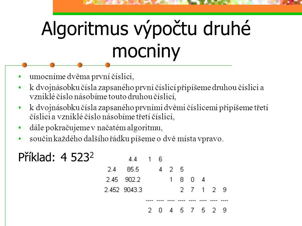 Algoritmus výpočtu druhé mocniny