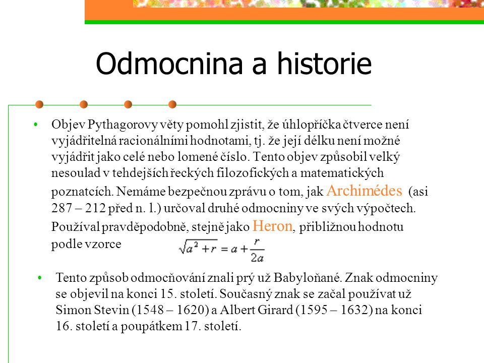 Odmocnina a historie