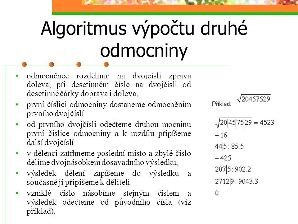 Algoritmus výpočtu druhé odmocniny