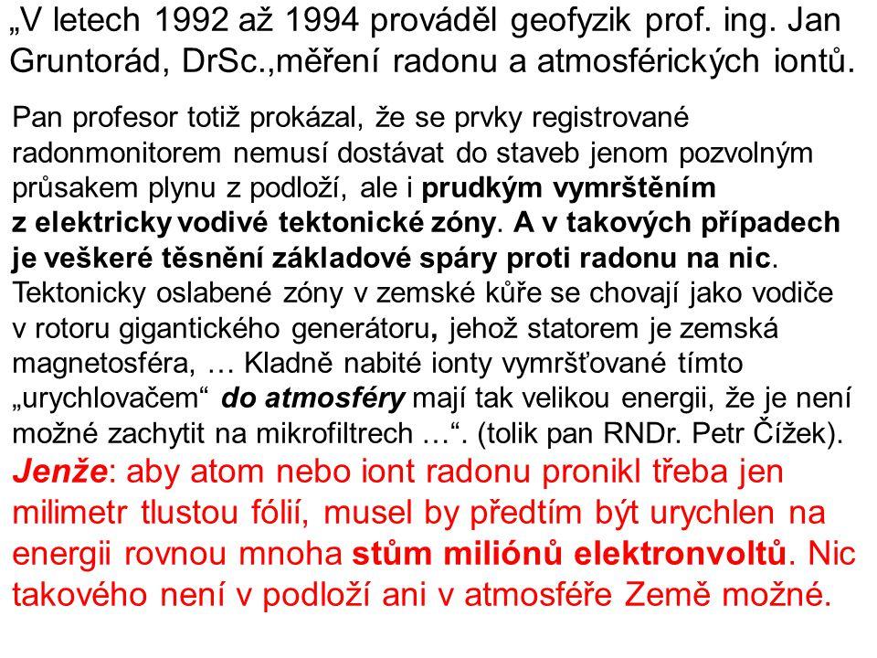 """""""V letech 1992 až 1994 prováděl geofyzik prof. ing. Jan"""