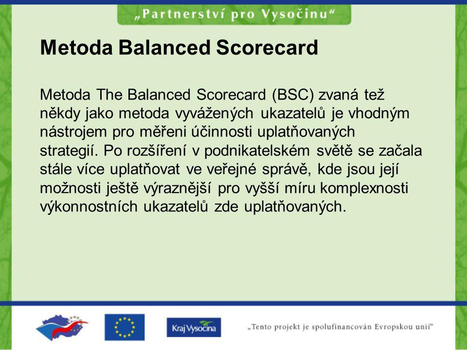 Metoda Balanced Scorecard Metoda The Balanced Scorecard (BSC) zvaná tež někdy jako metoda vyvážených ukazatelů je vhodným nástrojem pro měřeni účinnosti uplatňovaných strategií.